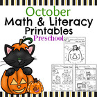 Preschool Math and Literacy Printables - October