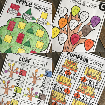 Preschool Math and Literacy Worksheets for the Year Bundle