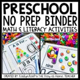 Preschool Math and Literacy Worksheets for Binder