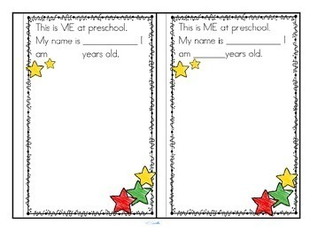 Preschool PreK Memory Book Beginning or End of Year Activity