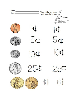 preschool money worksheets by osee 39 s home schooled education tpt. Black Bedroom Furniture Sets. Home Design Ideas