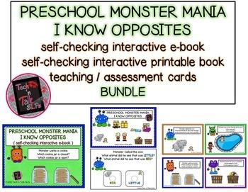 Preschool Monster Mania - I Know Opposites- BUNDLE