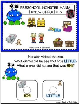 Preschool Monster Mania - I Know Opposites - Interactive Printable Book