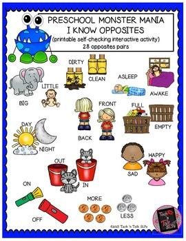 Preschool Monster Mania - I Know Opposites - Interactive P