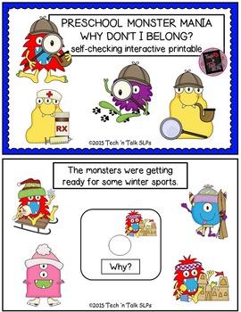 Preschool Monster Mania - Why Don't I Belong - Self-Checking Interactive Book