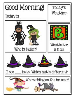 Preschool Morning Messages - Halloween Set