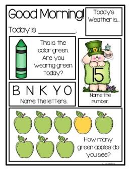 Preschool Morning Messages ~ March Set