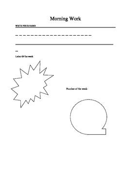 Preschool Morning Work