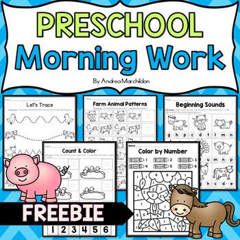Preschool Morning Work FREE