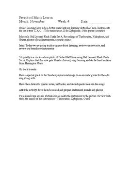 Preschool Music Lessons - November