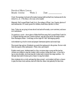 Preschool Music Lessons - October