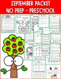 Preschool NO PREP September Review Packet at home learning