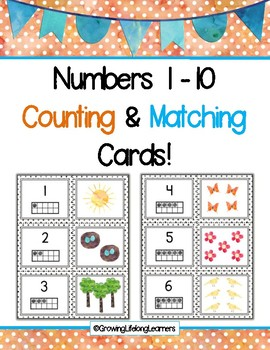 Nature Walk Numbers 1 - 10 Counting and Matching Cards