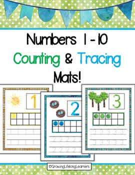 Numbers 1-10 Counting and Tracing Mats, Nature Walk Themed