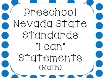 "Preschool Nevada State Standards Math ""I Can"""