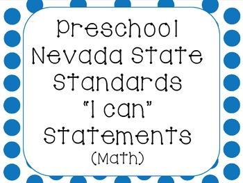 "Preschool Nevada State Standards Math ""I Can"""