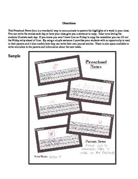 Preschool News (a weekly class newsletter)
