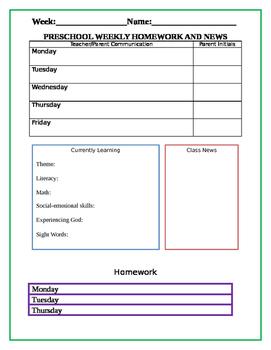 Preschool News and Homework Template