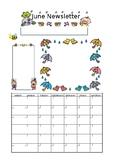 Preschool Newsletter (A4), Colour, Cute, Template, simple - JUNE