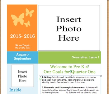 Preschool Newsletter Template for the BOY