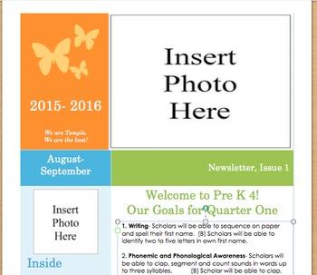Preschool Newsletter Template for the BOY