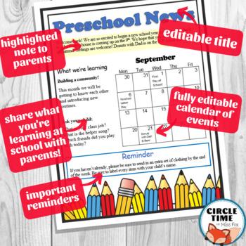 Preschool Newsletter Templates EDITABLE Parent Communication Letter Daycare Form