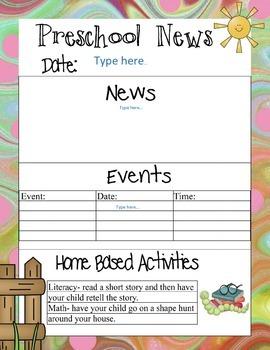Preschool Newsletters With Home Activities