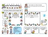 Preschool Newsletter (letter size), Colour, Cute, Template - JUNE