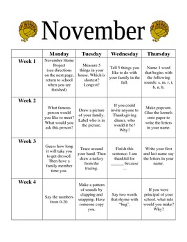 Preschool November Homework
