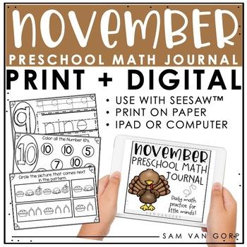 Preschool November Math Journal