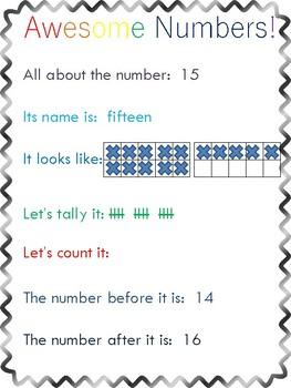 Preschool Number Concept Posters 0-20