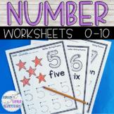 Back to School Preschool Number Worksheets 1-10