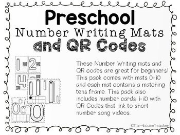 Preschool Number Writing Mats and QR Codes
