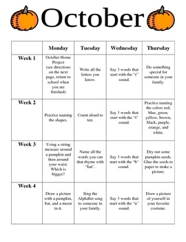 Preschool October Homework