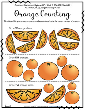 Preschool Orange - Weekly Unit for Preschool, PreK or Homeschool