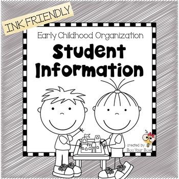 Preschool Organization Binder - Student Information Records  INK FRIENDLY