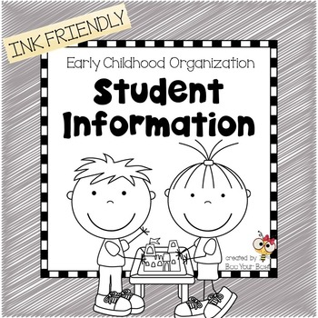 Preschool Organization Binder - Student Information Records  INK FRIENDLY