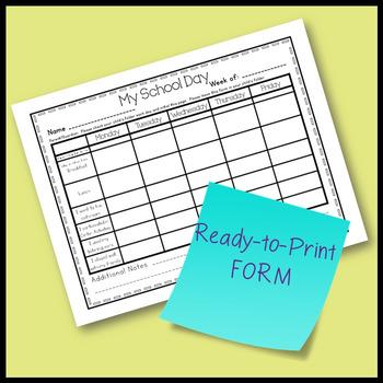 Preschool Organization- Daily Home/School Communication FORM