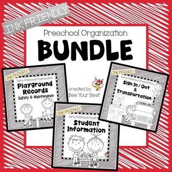 Preschool Organization - INK FRIENDLY BUNDLE