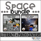 Preschool Outer Space Literacy and Math Centers Bundle