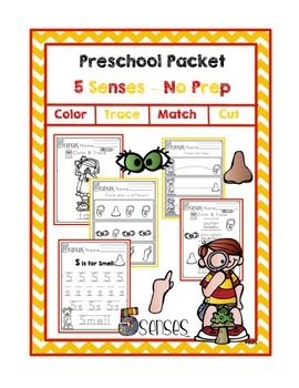 Preschool Packet 5 Senses - NO PREP