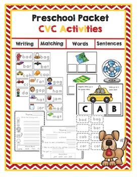 Preschool Packet CVC Activities