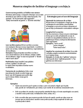 Preschool Parent Handout for Language Facilitation - English and Spanish