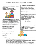 Preschool Parent Handout for Language Facilitation - English and Spanish