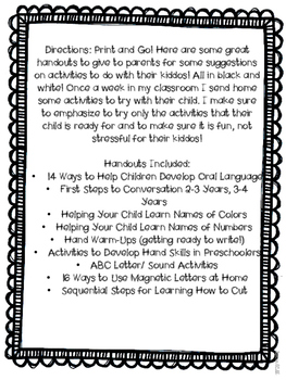 Preschool Parent Handouts Ideas For Parents To Do At Home With