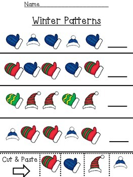 Preschool Math Patterns:  January Mittens and February Hearts
