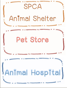 Preschool Pets Theme Roles and Actions Visual Aid