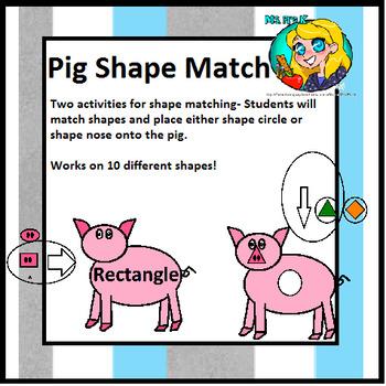 Preschool Pig Shape Match- two activities