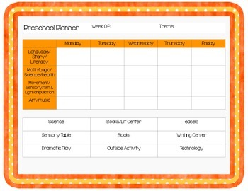 Preschool Planner Pages