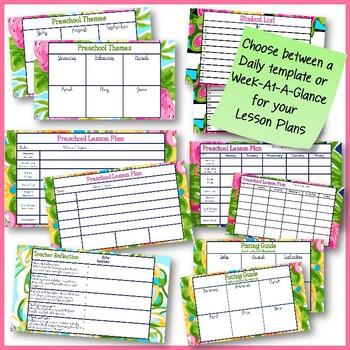 Preschool Planner for Google Drive in Preppy Prints Theme